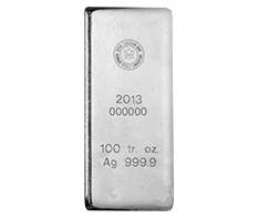 100 oz Silver Royal Canadian Mint Bar .9999 (2015 and older)
