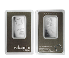 1 oz Platinum Valcambi Suisse Bar