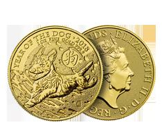 2018 1 oz Gold British Lunar Dog Coin .9999