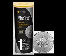 2020  1 oz Silver Maples Tube (25 coins) - MintFirstTM