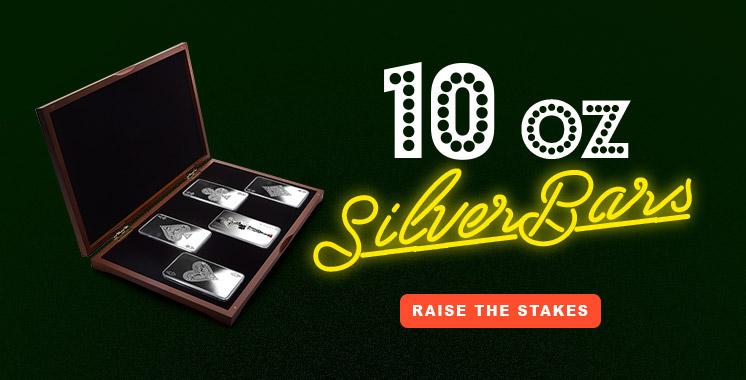 10 oz Silver Bar Set - 4 Aces + Joker Girl
