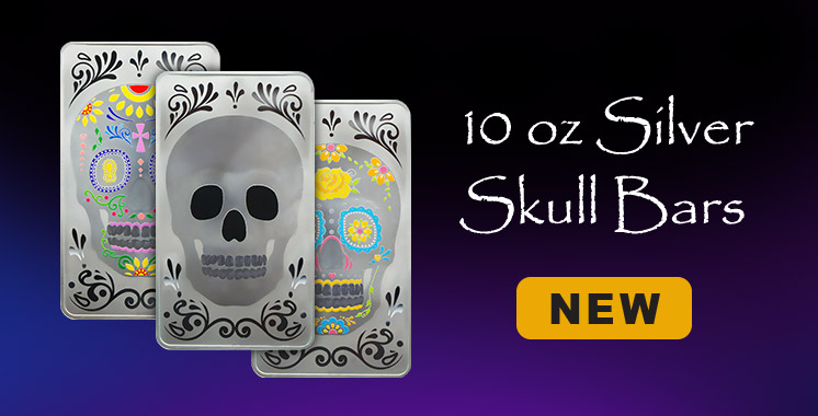10 oz Silver Bar - Original Skull .999