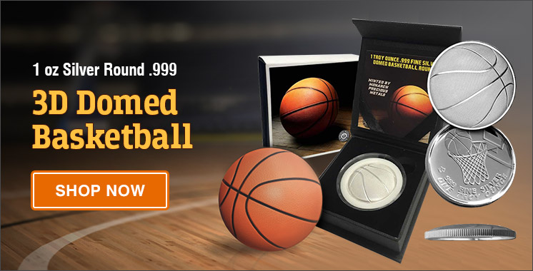1 oz Silver Round - 3D Domed Basketball