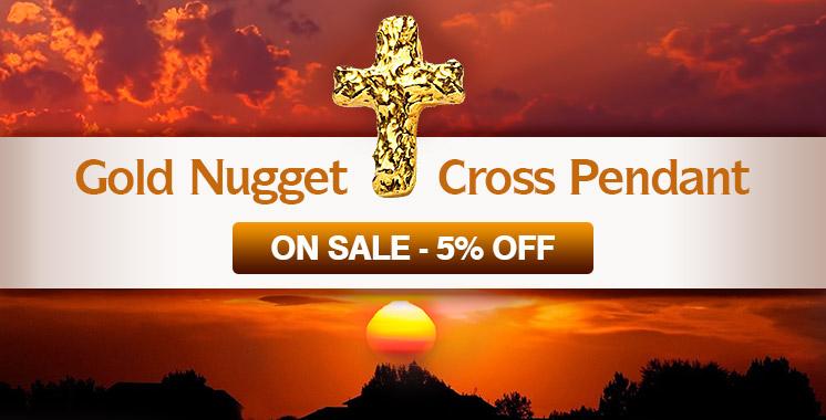 Gold Cross Nugget Pendant