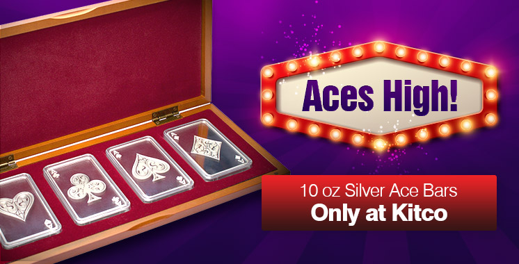 10oz Silver Bar Set-4 Aces
