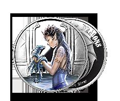 1 oz Silver Round .999 - Anne Stokes - Water Dragon