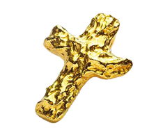 Gold Cross Nugget Pendant .999