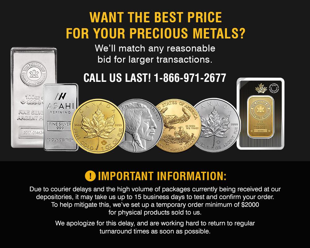 Sell Gold Silver Scrap Coin Bars Bullion Kitco Online