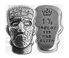 1.5 oz Silver Bar .999-3D Frankenstein Head