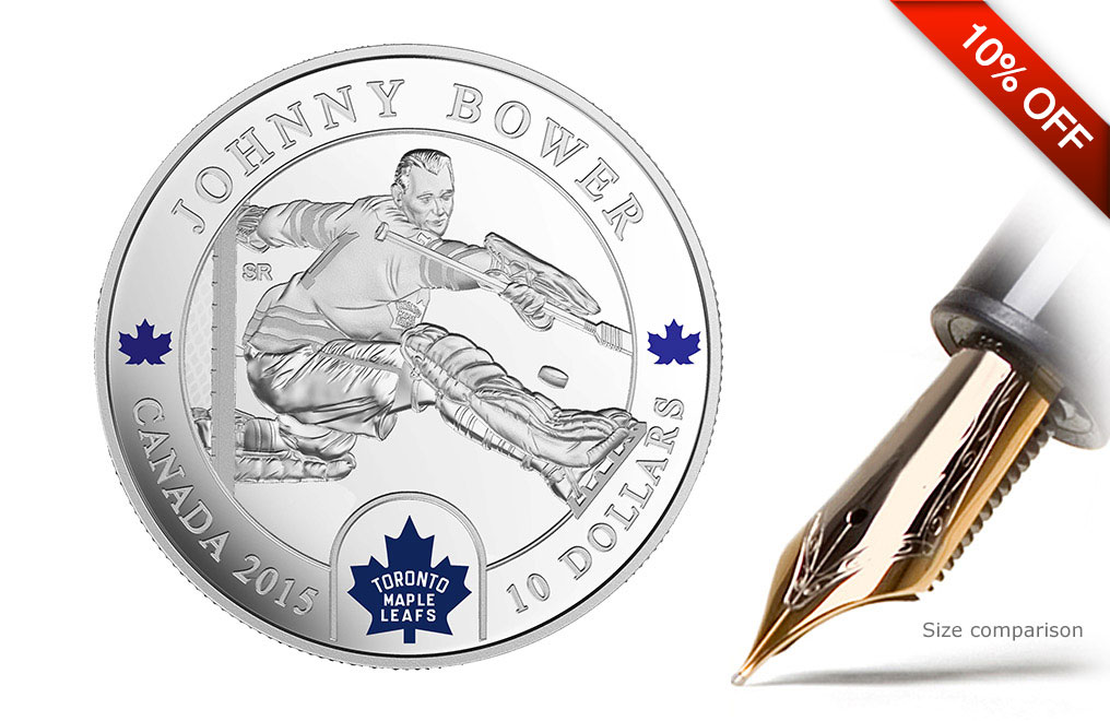 Buy 1/2 oz Silver NHL Goalie Coins: Johnny Bower, image 0