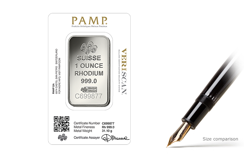 Buy 1 oz PAMP Suisse Lady Fortuna Rhodium Bars (Veriscan), image 1