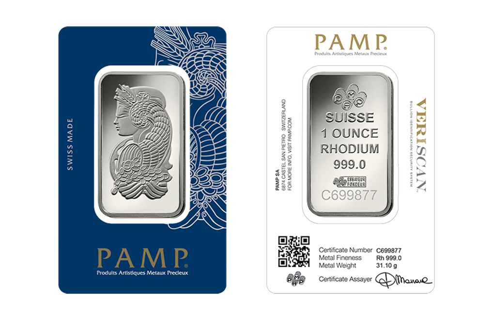 Buy 1 oz PAMP Suisse Lady Fortuna Rhodium Bars (Veriscan), image 2