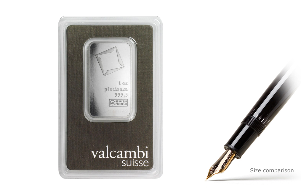 Buy 1 oz Platinum Valcambi Suisse Bars, image 0