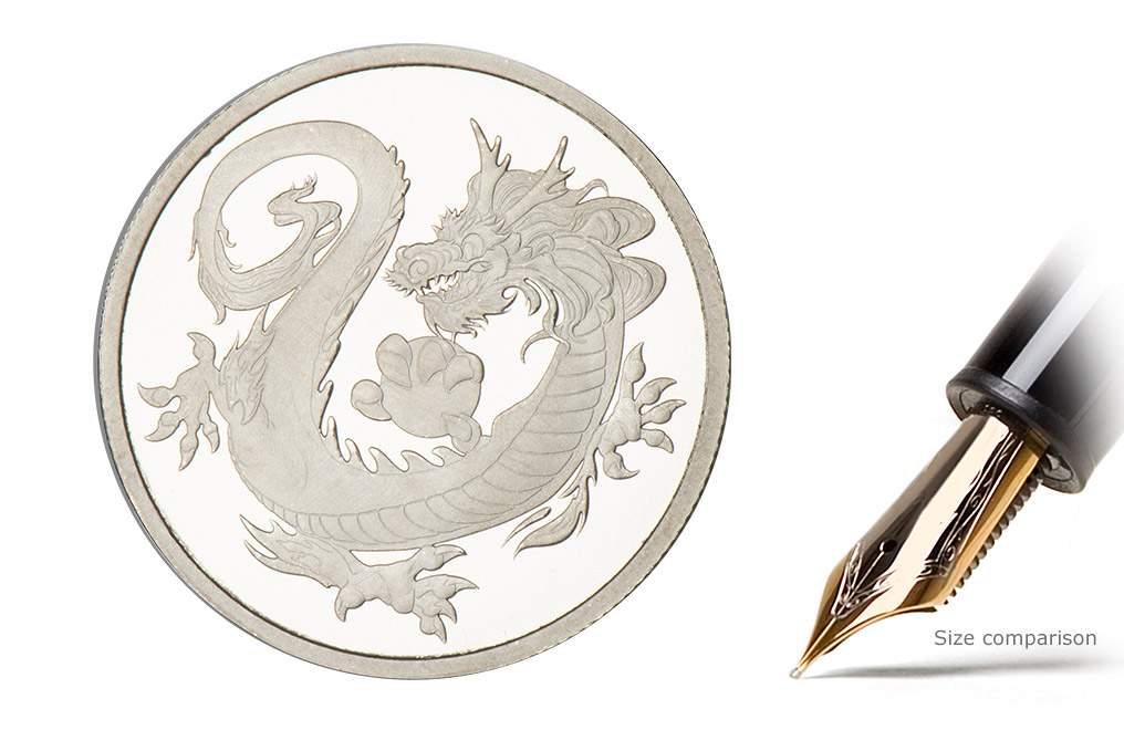 Buy 1 oz Rhodium Tuvalu South Sea Dragon Coin, image 0