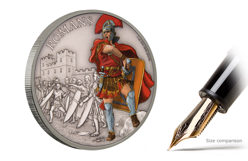 Buy 1 oz Silver Coin Warriors of History - Romans .999, image 4