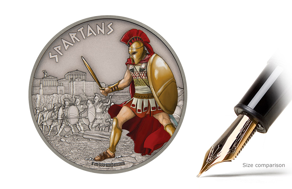 1 oz Silver Coin Warriors of History - Spartans .999, image 0