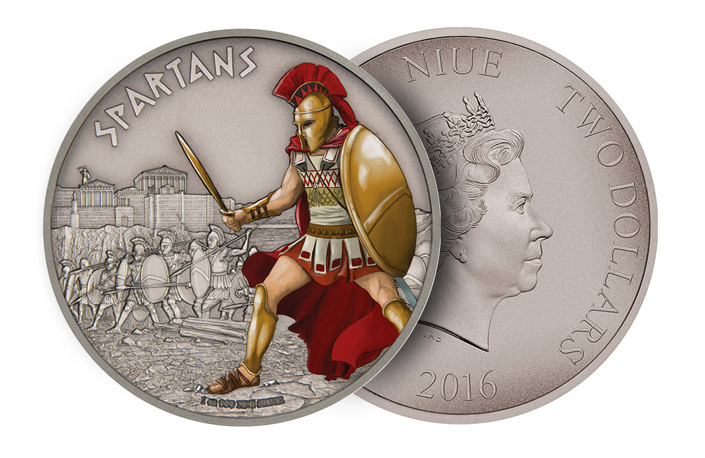 Buy 1 oz Silver Coin Warriors of History - Spartans .999, image 2