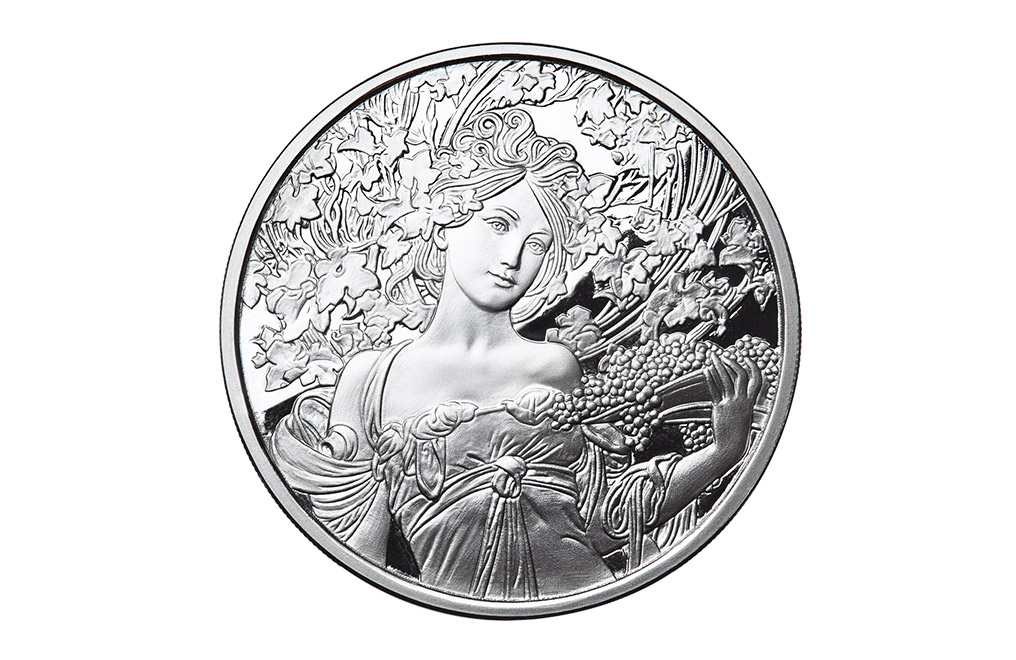 Buy 1 oz Silver Mucha Champagne White Star Proof Round, image 0
