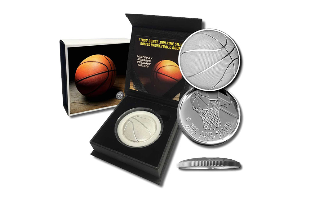 Buy 1 oz Silver Round .999 - 3D Domed Basketball, image 3