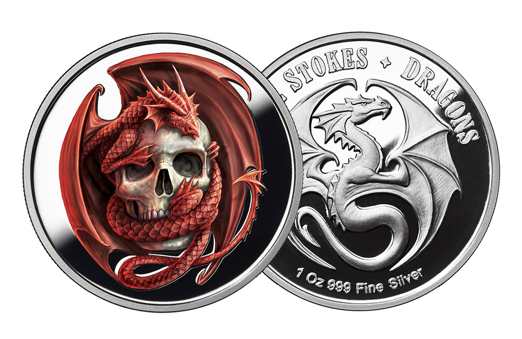 Buy 1 oz Silver Round .999 - Anne Stokes - Skull Embrace, image 2