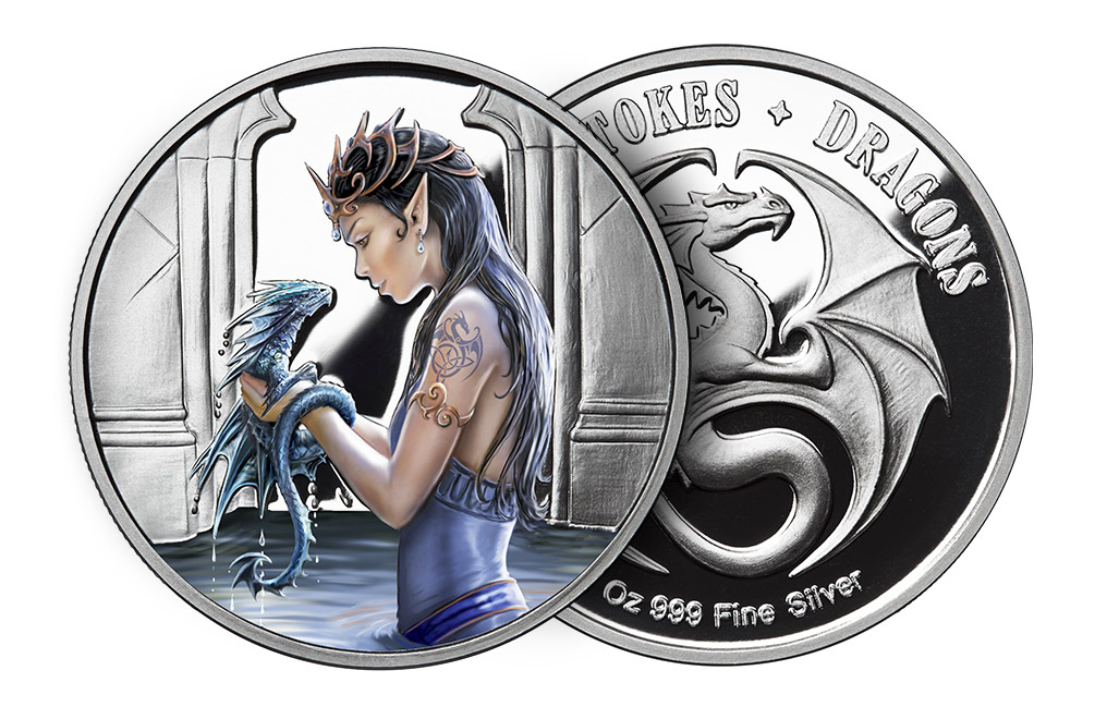 Buy 1 oz Silver Round .999 - Anne Stokes - Water Dragon, image 2