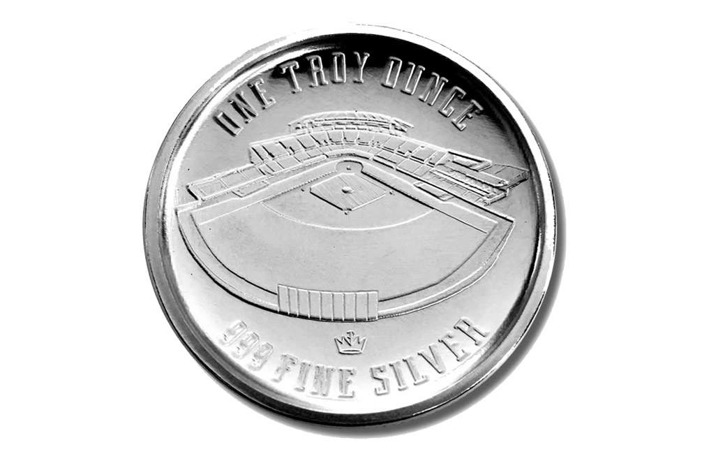 Buy 1 oz Silver Round .999 - Curved Domed 3D- Baseball, image 1