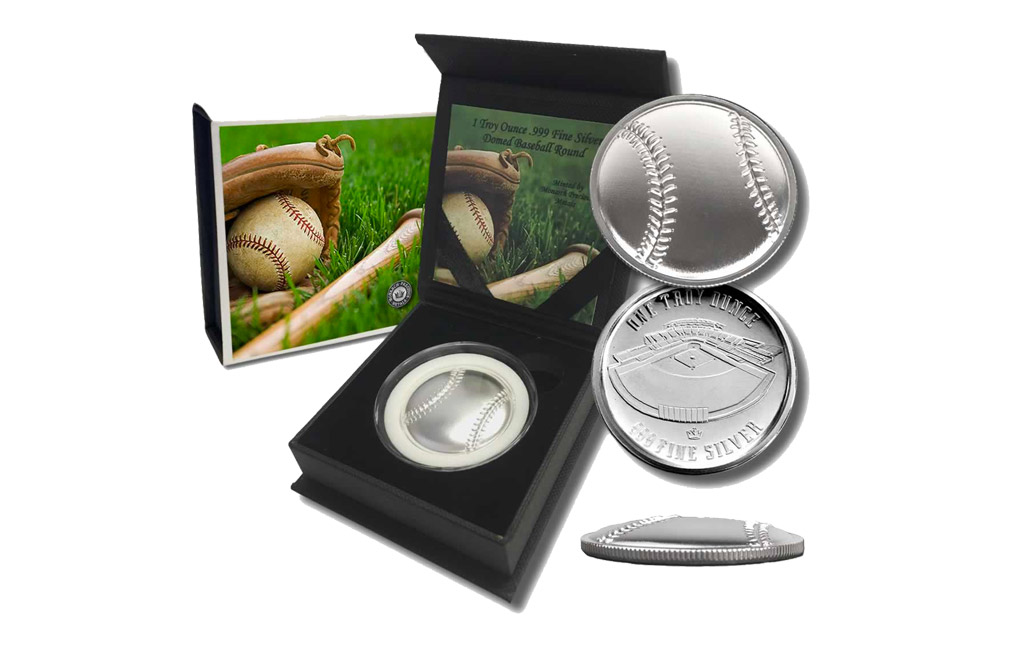 Buy 1 oz Silver Round .999 - Curved Domed 3D- Baseball, image 3