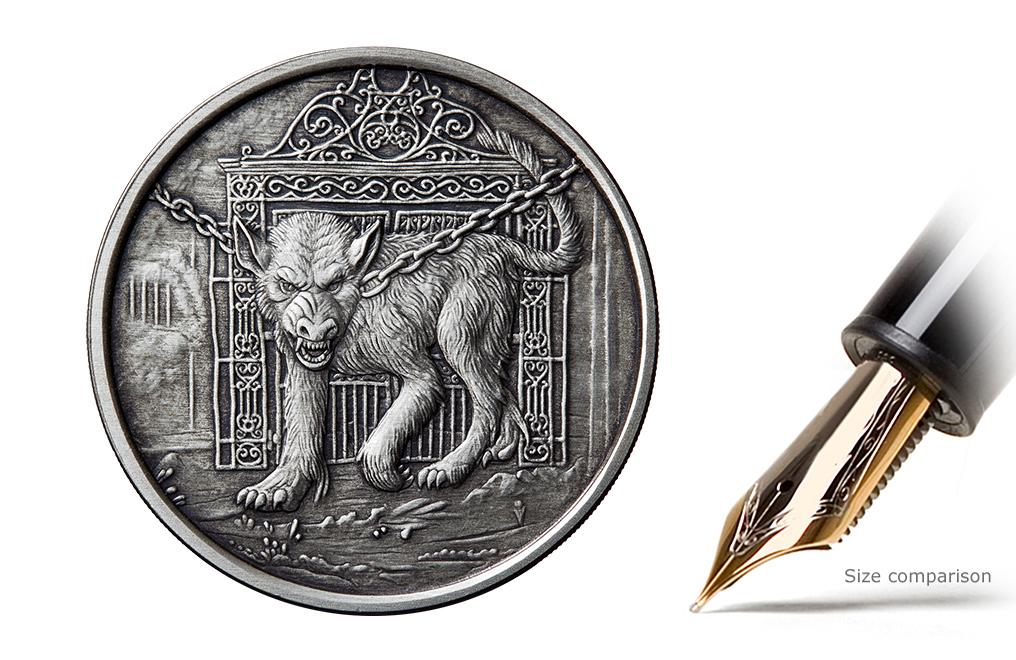 Buy 1 Oz Silver Round 999 Hellhound Antique Finish Image 0