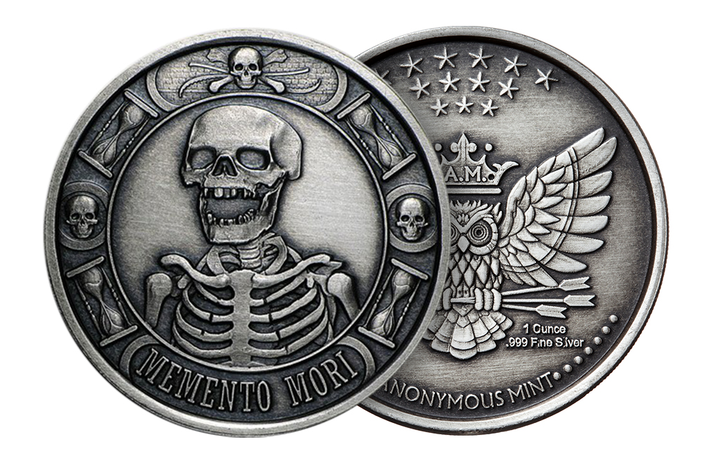 Buy 1 oz Silver Round .999- Memento Mori (Antique), image 2