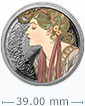 1 oz Silver Round .999 - Mucha- Laurel (Colorized)