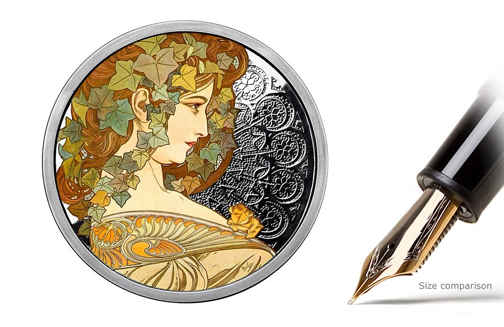 Buy 1 oz Silver Round .999 - Mucha - Ivy (Colorized), image 0