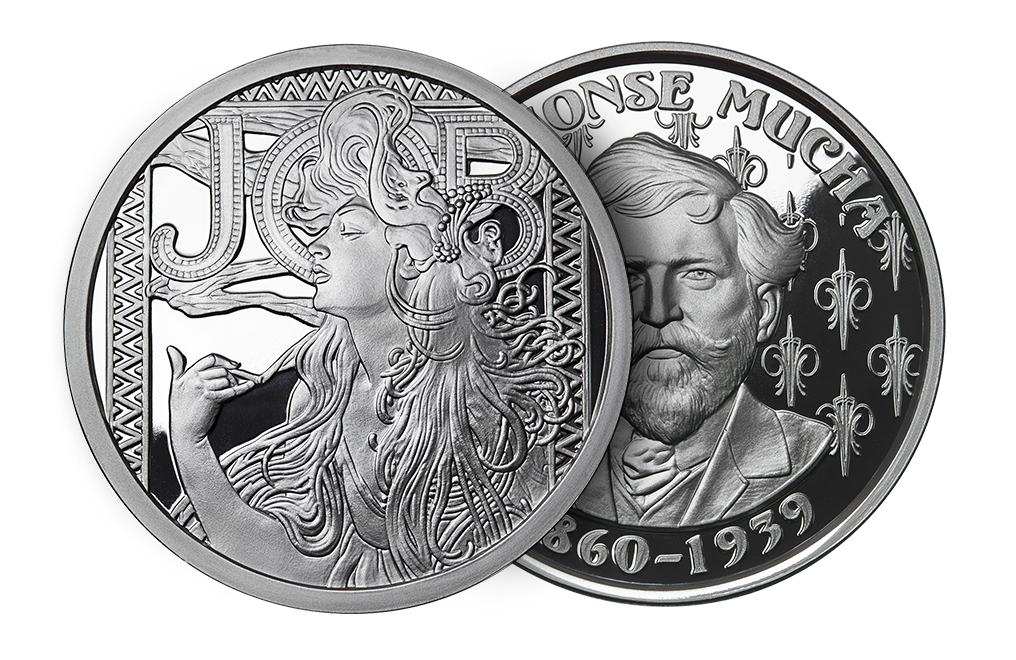 Buy 1 oz Silver Round .999 -Mucha - JOB (Proof Finish), image 2