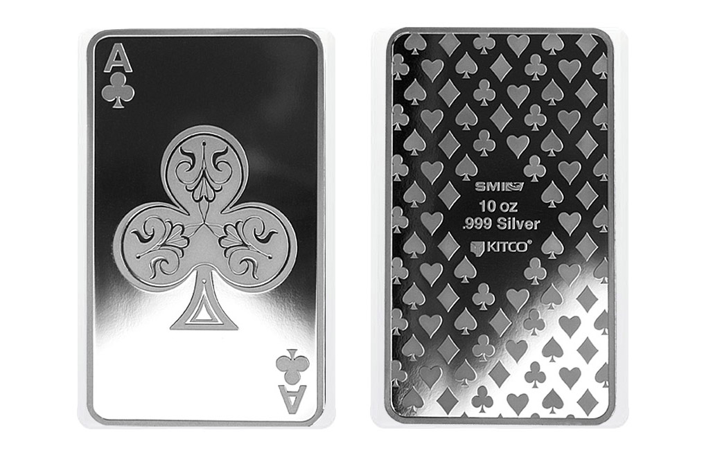 10 oz Silver Bar - Ace of Clubs, image 3