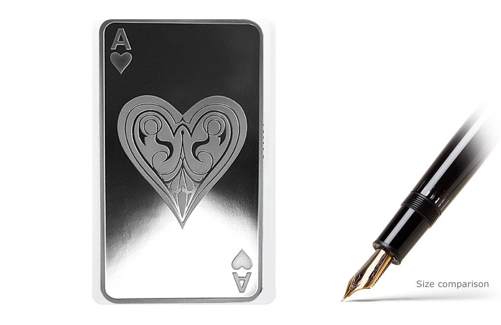 10 oz Silver Bar- Ace of Hearts, image 0