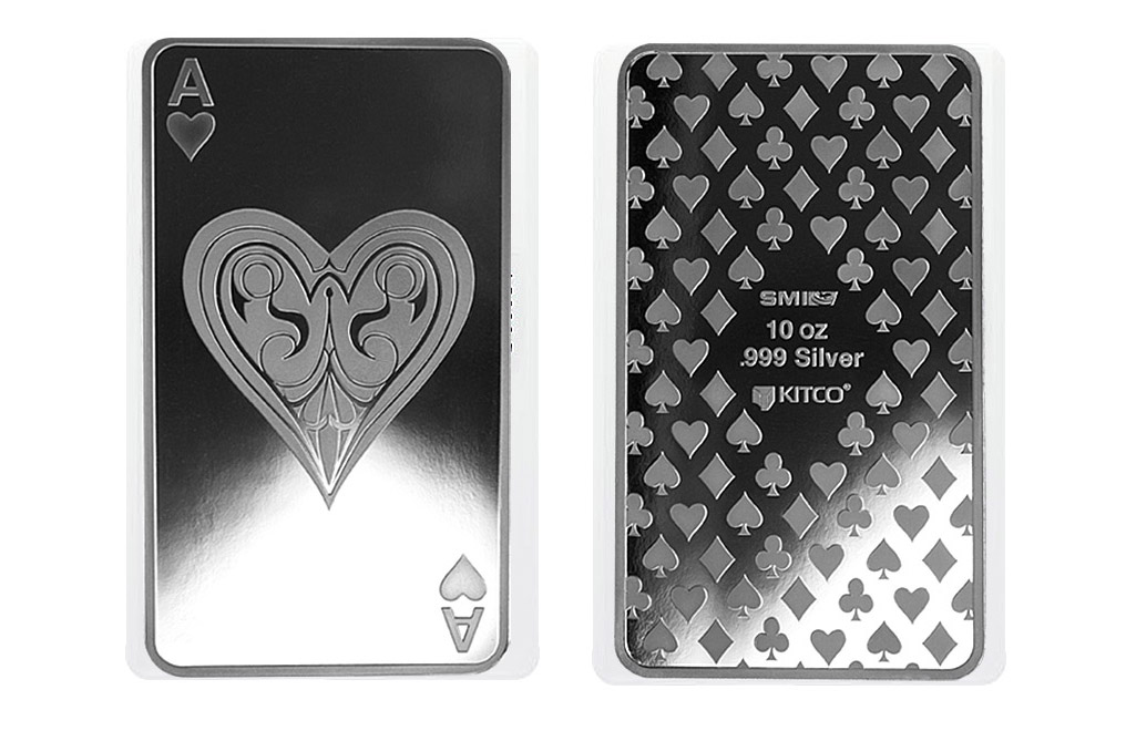 10 oz Silver Bar- Ace of Hearts, image 3