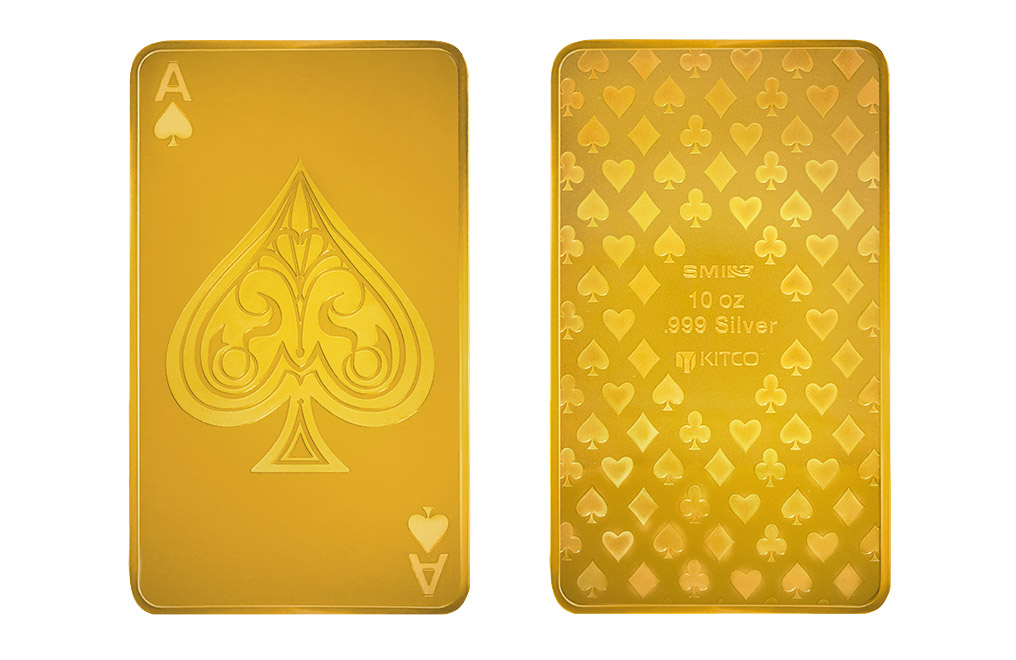Buy 10 oz Silver Bar - Ace of Spades - 24K Gold Plated, image 2