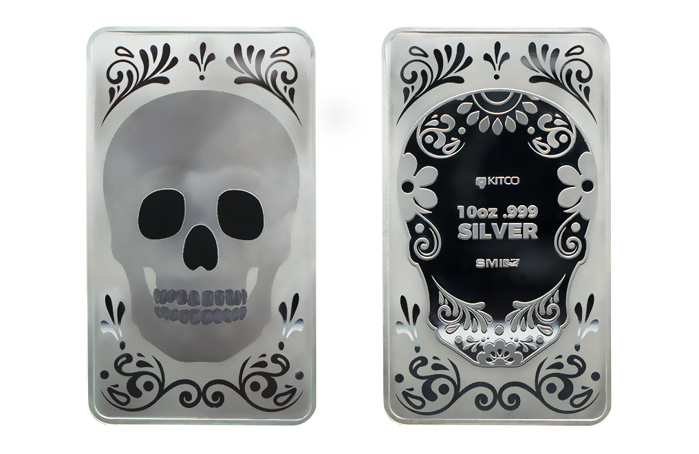 10 oz Silver Bar - Plain Skull .999, image 2