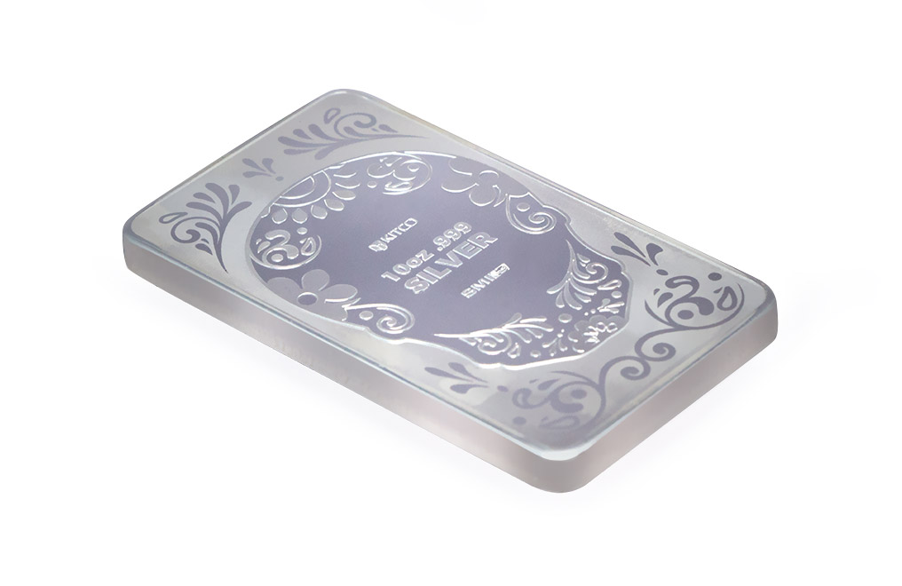 10 oz Silver Bar - Plain Skull .999, image 4