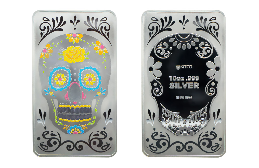 Buy 10 oz Silver Bar - Rose Skull .999, image 2