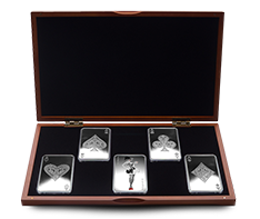 10 oz Silver Bar Five Piece Set - 4 Aces + Joker Girl
