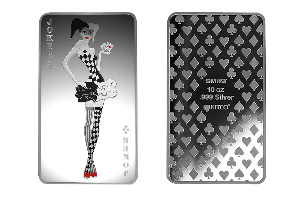 Buy 10 oz Silver Bar Set - 4 Aces + Joker Girl, image 6