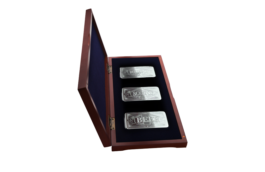 10 oz Silver Bar Three Piece Set– Bourbon, Scotch, Beer, image 2