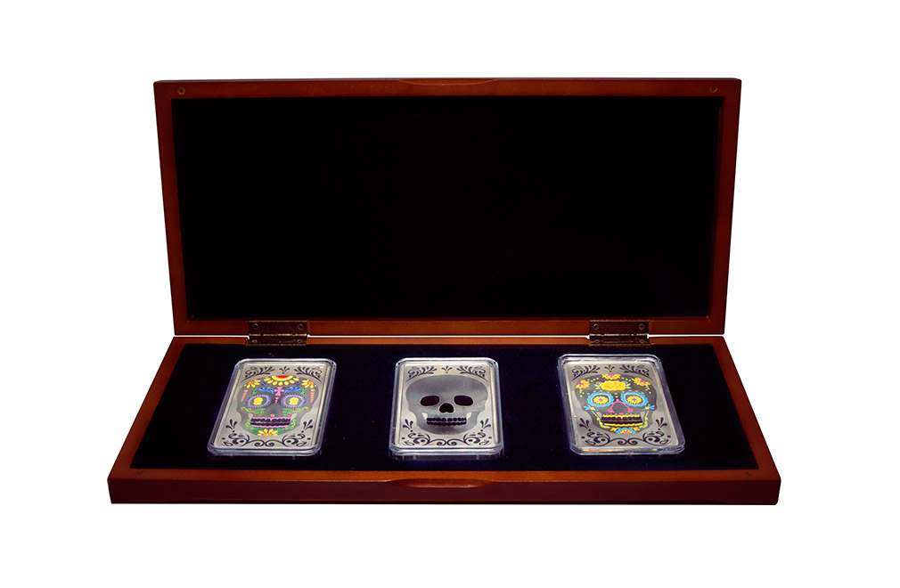 Buy 10 oz Silver Bar Set - Three Skulls .999, image 0