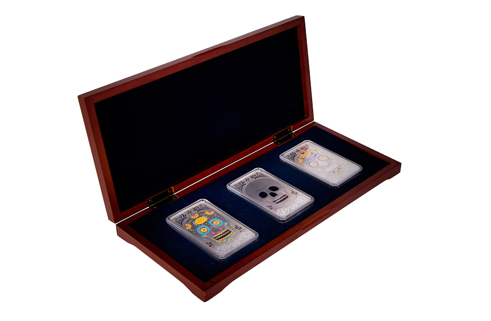 Buy 10 Oz Silver Bar Set Three Skulls 999