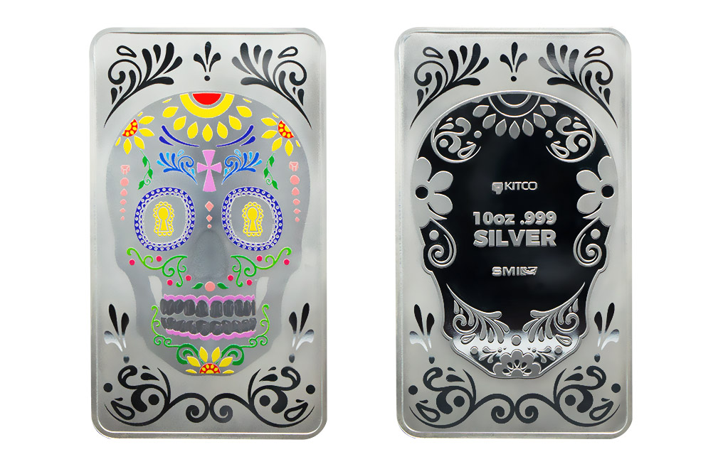 Buy 10 oz Silver Bar Set - Three Skulls .999, image 4