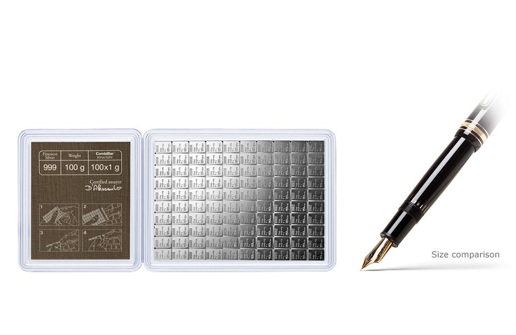 100 X 1 G Silver Valcambi Combibar Silver Bars Kitco Online