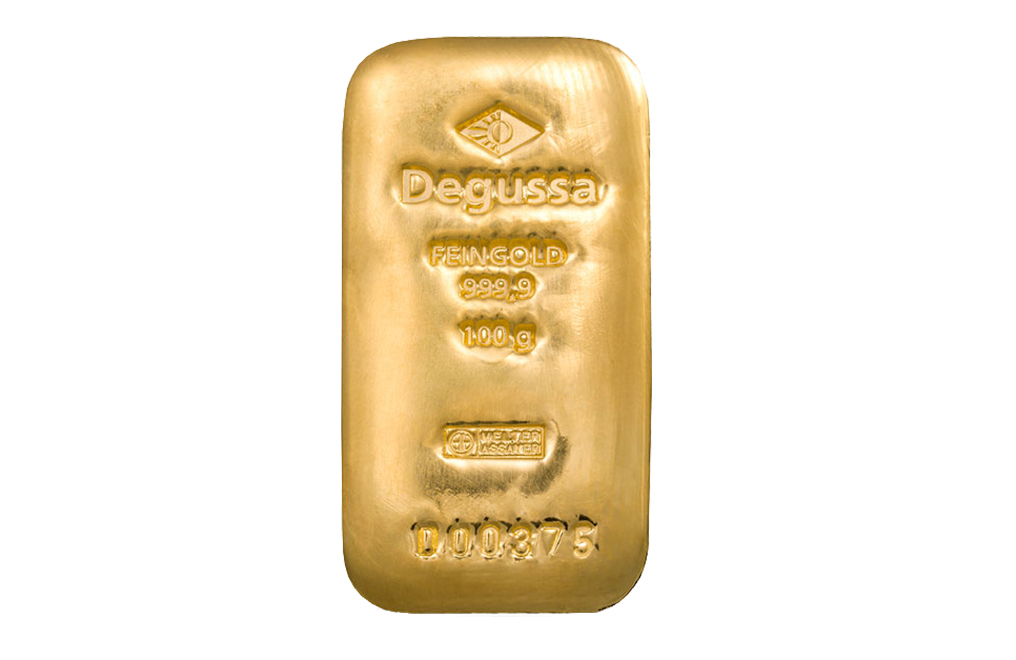 Buy 100 gram Gold Bars by Degussa, image 0