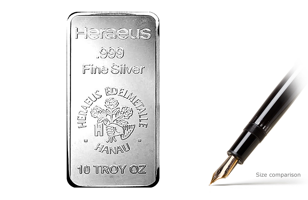 Buy 10 oz Silver Heraeus Bars, image 0