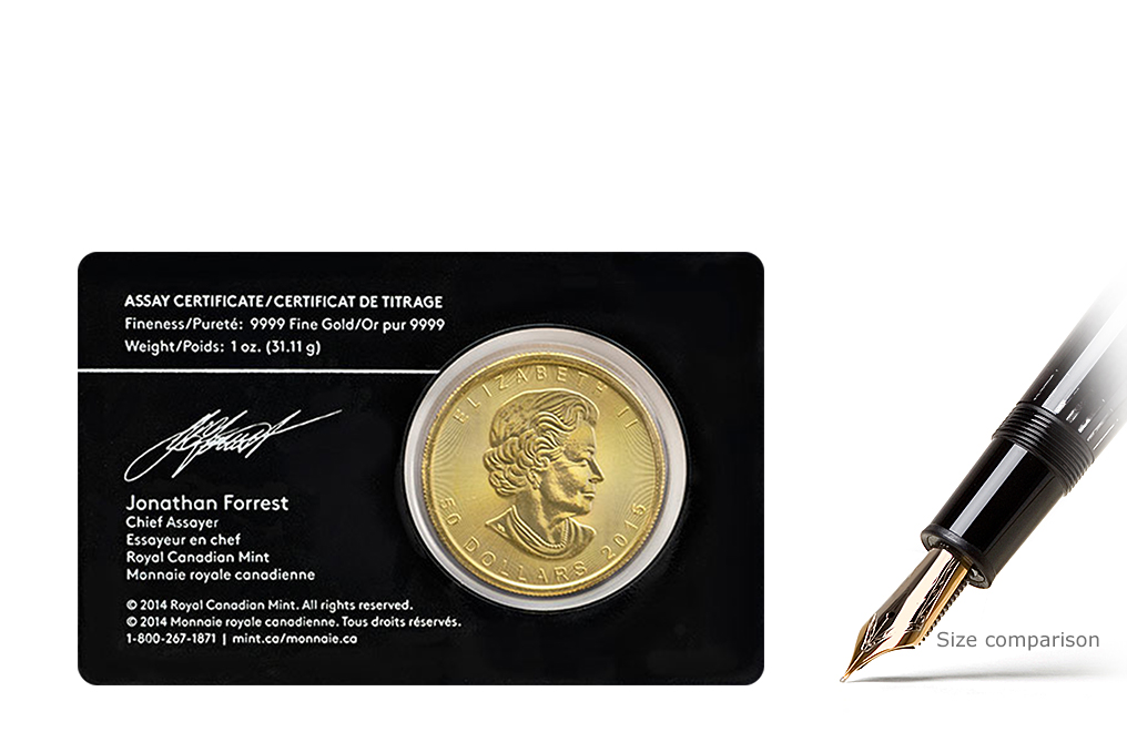Sell 1 oz Canadian Gold Maple Leaf Coins with Assay Card, image 1