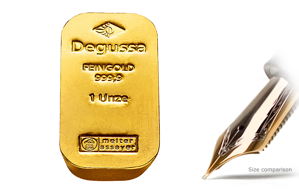 Buy 1 oz Gold Degussa Bars - Historic Form, image 0